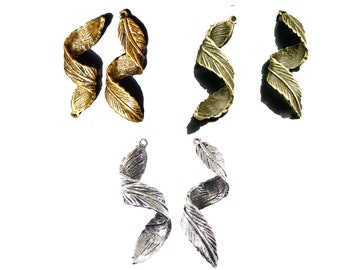 Leaf swirly dreadlock bead woodland leaves in silver, gold or bronze