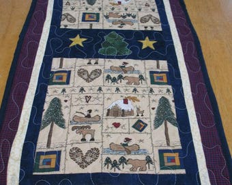 Quilted Appliqued Country Christmas Table Runner