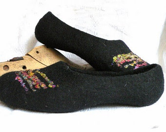 Felted slippers Secrets of Space black slippers handmade slippers