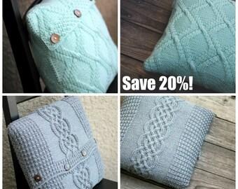 Knitting pattern, knit pattern, knitting tutorial, knit pillow case pattern, 2 pillowcase patterns bundle, PDF