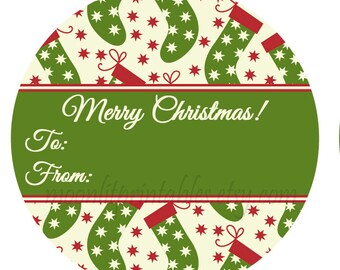 24 merry christmas stickers christmas stocking gift tags to from labels christmas christmas - Merry Christmas Stickers