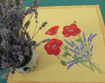 Cotton napkin Cloth napkin Set of napkins . Napkins matching tablecloths, runners, bread baskets.Poppies and lavender in yellow