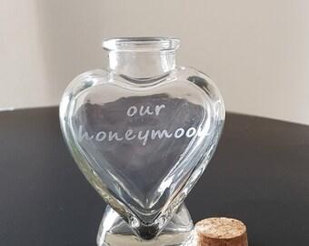Honeymoon Keepsake Bottle with cork lid