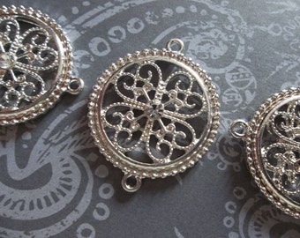 Jewelry Connectors - Large Silver Filigree Medallions with Clear Rhinestone - 26 x 32mm - 3 pieces