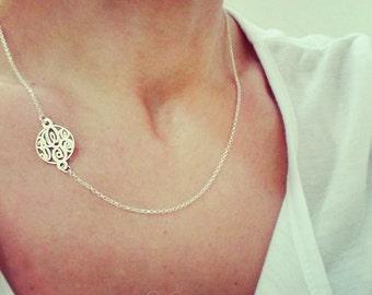 Tiny Sideways Monogram Necklace 0.6Inch - Personalized sideways necklace sterling silver