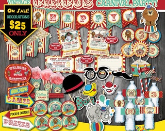 On Sale! Circus Party Package-Vintage Circus Birthday Package-First Carnival Birthday Party Printable-Carnival Party Decoration-Circus Decor