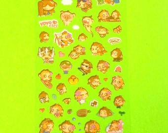 Cheeky Monkey Adorable Animal Cute Super Kawaii Kitschy Kyuuto Puffy Vinyl Sticker Set