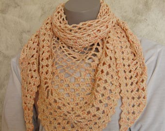 Heather pink hand crocheted scarf