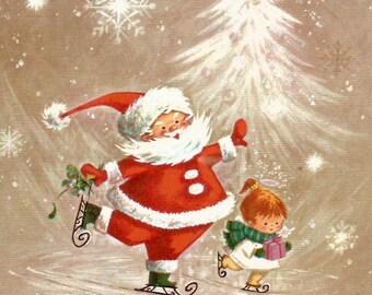 Vintage Christmas card Santa Claus little girl ice skating ice skaters digital download printable instant image
