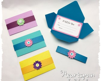 Set of 3 Vibrant Double Sided Gift Card Holders with contrasting flower and matching Note Card. Any Occasion, Birthday, Christmas, Thank You