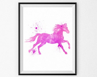 Pink Nursery Art Print - Horse Nursery Watercolor Painting - Girl's Room - Children's Art - Nursery Canvas - Nursery Painting