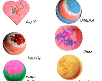 Bath Bomb Set of 6 BIG Bath Bombs  -Ultra lush and luxurious skin softening handmade