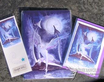 Handmade Bookmark, Handmade Card, Fairy Notebook Set, Faerie Art, Moon, Mushrooms, Moonlit, Magical, Stationary Set, Moonlight Wish