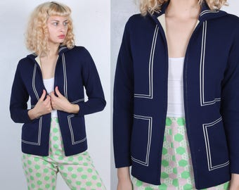 Vintage Mod Cardigan // 70s Knit Sweater Open Navy Blue White Striped Womens - Small