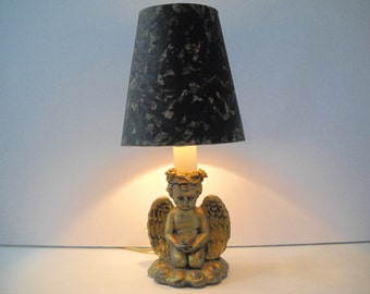 High Quality Small Angel Lamp Decorated In Gold And Black 2 Available