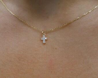 Diamond Cross/ 14k Gold Cross Necklace/ Cross Necklace with Diamonds/ Mini Diamond Cross/ Diamond Mini Cross/ Gold Tiny Cross/ Gift for Her