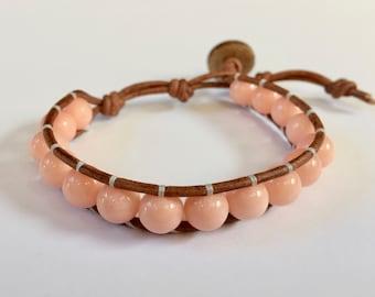 Coral Jade 1 Wrap Bracelet