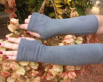 Gray Fingerless  fleece gloves