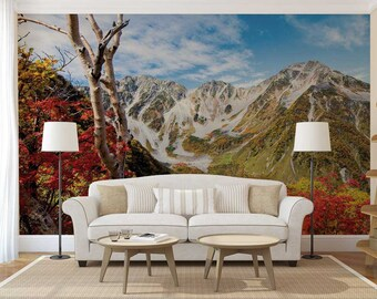 Peel And Stick Mountain Wallpaper, Custom Wall Mural, Mountain Wall Decal, Wall Mural Flowers