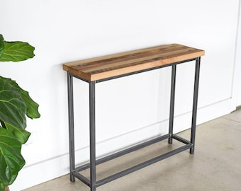 """Reclaimed Wood Console Table / 37"""" Stoic Butcher Block Entryway Table"""