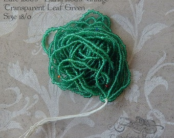 Size 18/0  Antique Micro Beads - Transparent Leaf Green