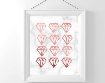 Marble Decor | Rose Gold Art | Diamond Art | Rose Gold Art Deco | Rose Gold Art Prints | Marble Art | Marble Artwork |