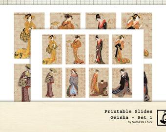 Geisha Printable Slides, Set 1