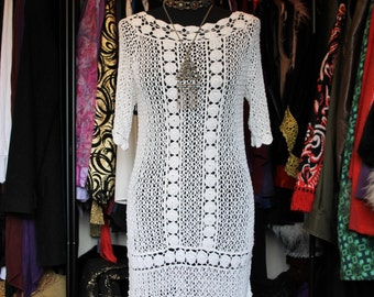 Holy Roller-White 60s Hippie Boho Crochet Mini Dress