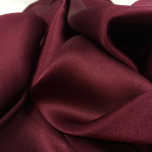 Sangria Silk Satin Fabric, Soft Material, Shiny Material, Silk Fabric, Dress Fabric, Remnant Fabric, Opaque Fabric, Material