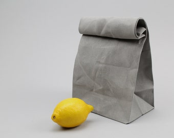 "The ""Brown"" Bag // Grey WAXED Canvas Lunch Bag, an updated, eco-friendly classic"