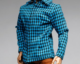 mc0391 Men's Slim Fit  Blue Black Checker Shirt for 1/6 Action Figure (Shirt ONLY)