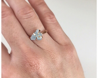 Rose Gold Engagement Ring, Aquamarine Engagement Rings, March Birthstone, Aquamarine Rings, Promise Ring, Solitaire Engagement Ring