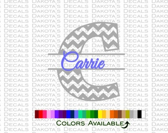 Chevron Initial with Name Decal