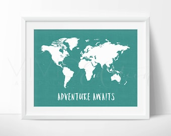 Linen world map etsy world map art print poster travel quote adventure awaits teal faux linen background gumiabroncs Images