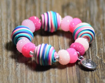 Children's Pink Stretch Beaded Bracelet Blue Polymer Clay Metal Heart Charm Birthday Summer Child Girl Rainbow Shimmer Acrylic Fun