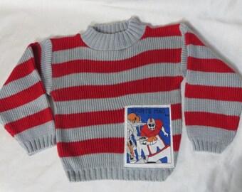 Vintage 70s Boys Toddler Sweater Novelty Football Stripes Acrylic Retro Sport