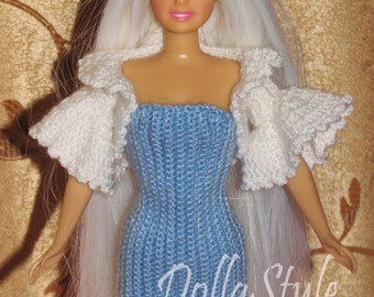 Crochet Barbie Clothes. Dress and Schrag. Barbie Doll outfit (1/6 Scale)