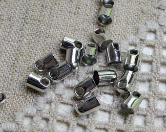 50pcs Cord Ends Tip Imit Rhodium Brass 9x6mm Tube for 5mm Leather Cord