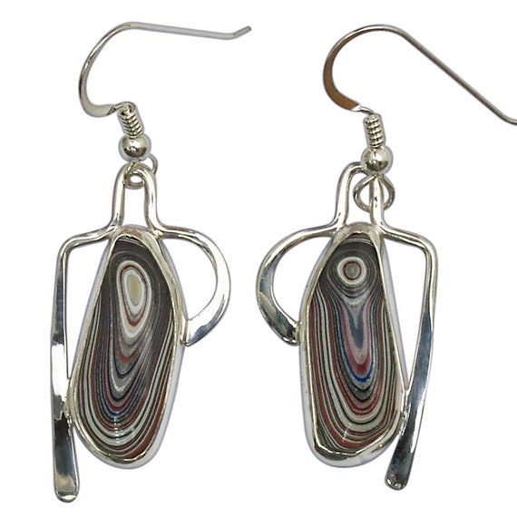 Fordite and Sterling Silver Dangle Earrings, Hand Crafted One of a Kind  efrdf3008