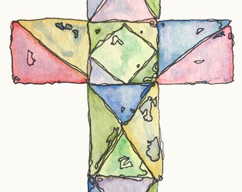Cross made of Stained Glass 4x6 original watercolor with ink by Nan Henke