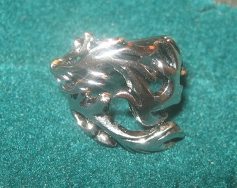 New Antique Silver Tone Stainless Steel Adjustable Dragon Ring Sizes 5-12