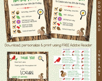 Printable invites etsy scavenger hunt printable invitation nature party invite instant download edit in adobe reader stopboris Gallery