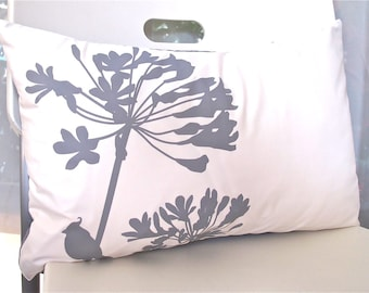 Limited Time Sale Grey Print on Off White Cotton Cardinal on Agapanthus Rectangle Pillow