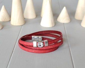 Red Leather Bracelet, Crystal and Leather Bracelet, Distressed Leather Bracelet, Thin Leather Bracelet