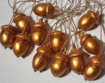 Golden acorns set of 30. Acorn ornaments. Home decor.