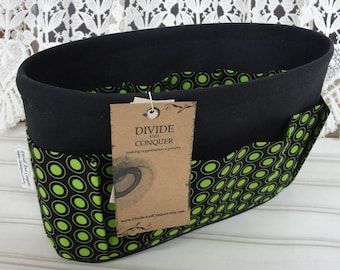 10.5 x 3.5 x 6H oval / Size Small / Purse ORGANIZER insert SHAPER/Ready to Ship / Black with Lime Polka Dots/Stiff bottom or Flexible bottom