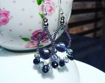 Silver pearl earrings with amethyst and peacock drop pearls