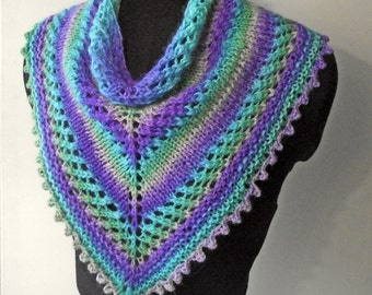 Purple Turquoise Neckwarmer, Kerchief or Bandana Cowl, Knitted from Handspun Dyed Alpaca Merino and Silk. Mothers' Day Gift