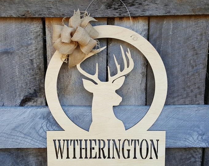 Deer Door Hanger - Painted Hunter Door Decor - Buck Wall Hanging - Wedding Gift - Housewarming Gift - Personalized Gift