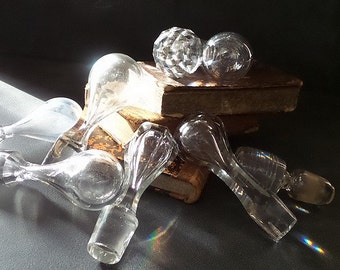 8 Vintage  crystal bottle stoppers .Shabby chic.Cottage.Romantic